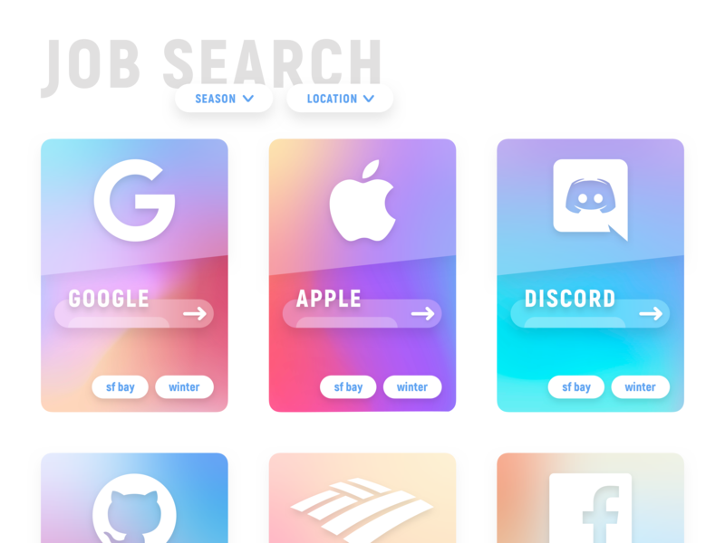 Job Search gradient web design ux ui