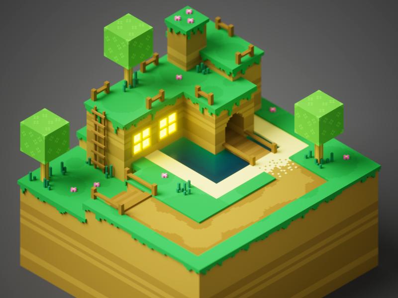 Hill Home render voxel art voxel