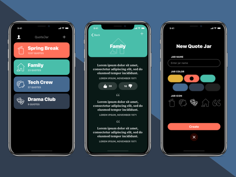 QuoteJar App Design iphone x iphone colors icons branding app design ios design ios app ux ui brickhack