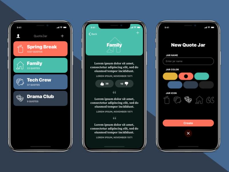 QuoteJar App Design iphone x iphone colors icons branding app design ios design ios app ux ui brickhack