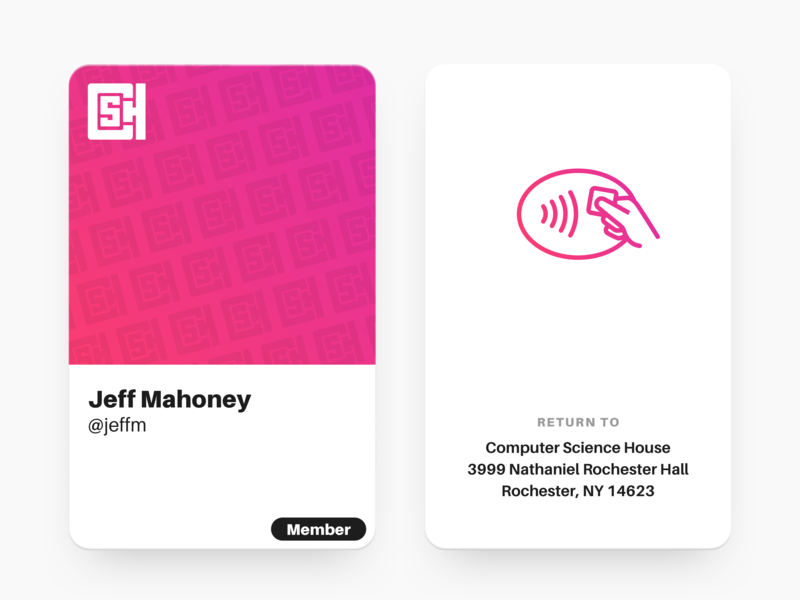 Computer Science House – NFC Card Design logo card purple pink physical product design gradient