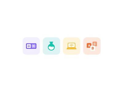 Subject Icons colors vector technology tech web ux ui education learning learn study design product illustration microinteraction animation iconography iconset icons icon
