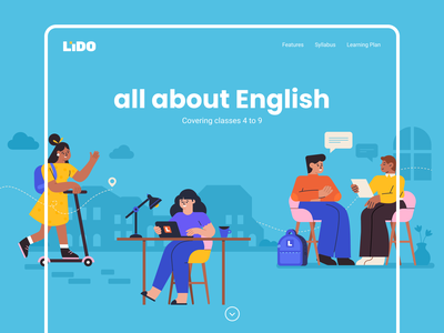 English Webpage language elearning 2d landingpage webpage course website adobe illustrator graphic vector colour characters english subject study school learning illustration