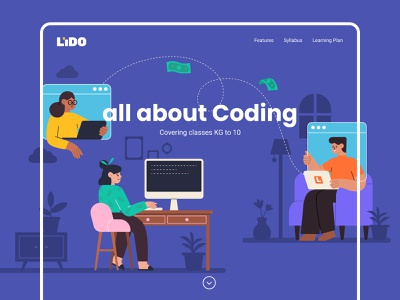 Coding Webpage elearning 2d landingpage webpage course website adobe illustrator illustration graphic vector color character subject study school learning ui code