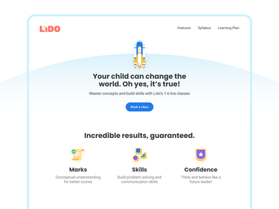 Lido Learning Website components buttons class icons rocket landingpage ux webpage website product learning school education 2d learn design study ui vector illustration