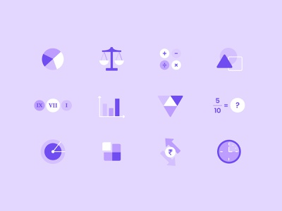 Math Spot Illustrations illustration study vector 2d illustrator math learn elearning student chapters cirriculum product lesson icons iconset graphic design education color ui