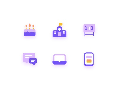 Icon Set objects flag chat cake mobile laptop education icons study learn school ui design vector 2d illustrator illustration mark icon color