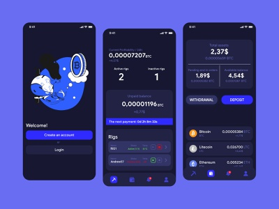Cryptocurrency app | Dark version sign up sign in app crypto wallet crypto interface litecoin ethereum bitcoin cryptocurrency cryptocurrency app illustration ux  ui uxui uxdesign uidesign design app design