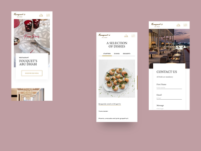 Fouquet's Abu Dhabi — UI Mobile first : landing page & carousel website mobile uidesign ui principle motion design motion interaction booking fields contact form contact case study restaurant abu dhabi food menu carousel slider