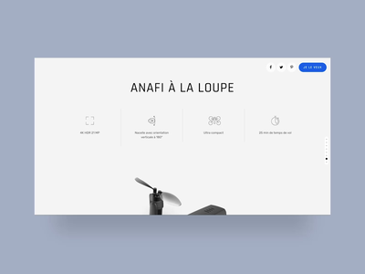 Parrot Anafi — UI landing page with 3D product explosion motion exploded view product details product design website uidesign interaction motion landing page ui scroll animation immersive homepage case study product presentation details design explosion product 3d animation