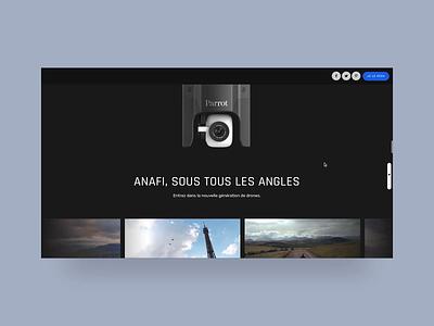 Parrot Anafi — UI photos carousel animation uxdesign ux project case study desktop website landing page userinterface uidesign ui photo animation animation drone carousel