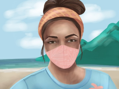woman with mask face woman portrait beach summertime woman woman illustration illustration art digital illustration illustration