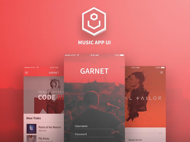 Garnet (Music App Ui) mobile ui music skatch psd garnet app mobile ux ui