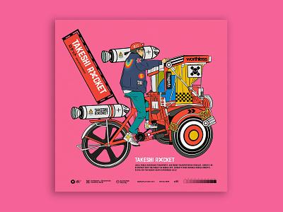 takeshi rocket bike rickshaw cycling digital art characterdesign digitalart illustration tuanmulo