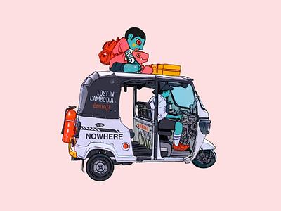 lost in cambodia procreate digitalart tuanmulo illustration tuktuk cambodia