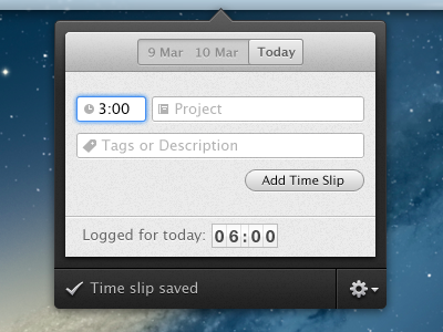Time Track app mac app popover time tracking track fantastical