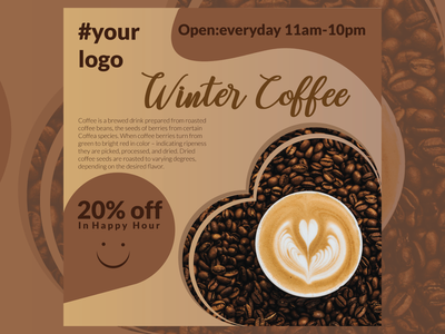 Social Media post Design For coffee shop social media banner illustrator design logo