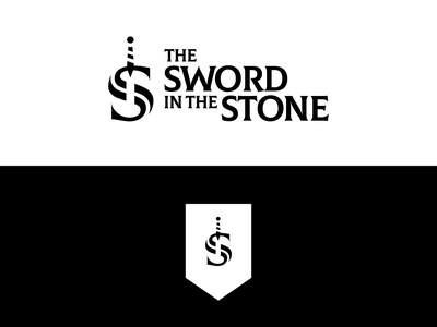 Disney Logo Redesign - The Sword in The Stone logotype branding sword in the stone disney minimal illustrator icon flat vector logo design
