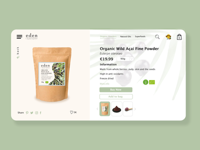 #DailyUI 012 - eCommerce Shop design art superfoods acai organic food store vegan food organic food ecommerce design ecommerce shop ecommerce dailyui 012 dailydesign adobe photoshop adobe illustrator adobe ux ui design dailyuichallenge dailyui daily 100 challenge