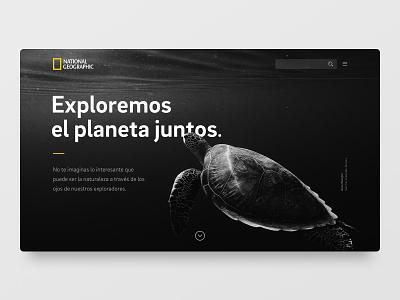 National Geographic — Exploremos el planeta juntos typography userinterface ui brix sans natgeo sea turtle white black concept design webpage redesign