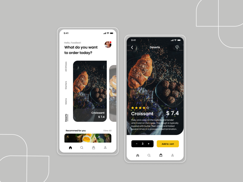 Design Rush - Food Order App ui design mobile ui art flat ux ui typography minimal meditation app design app