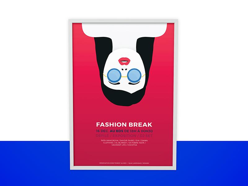 Poster Fashion Break Event fashion pink women minimalist poster