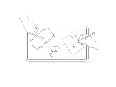 Tablet - Human to human stroke minimalistic tablet draw