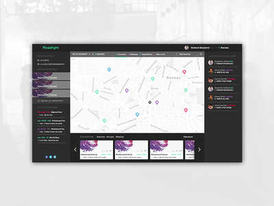 Headlight - Map Design  find event concept webdesign design map