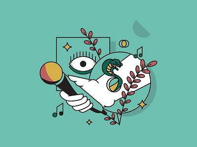 Rock Festival fun festival rennes music eyes green france illustrator rock
