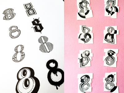 Eight 8's ::: Hand-Lettered Typography lettering typography type paper graffiti illustrated type handwritten handletter hand-lettered hand lettering hand drawn typography custom typography