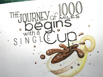The Journey of 1000 Miles ::: Hand-Lettered Typography lettering typography type paper graffiti illustrated type handwritten handletter hand-lettered hand lettering hand drawn typography custom typography