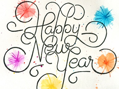 Happy New Year (#2) ::: Hand-lettered Typography