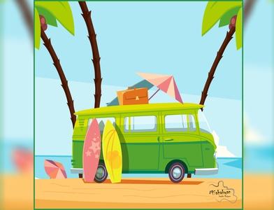 Retro Bus Summer retrostyle colors retrobus sea palms summer design adobephotoshop adobeillustator 2d vector illustration retro
