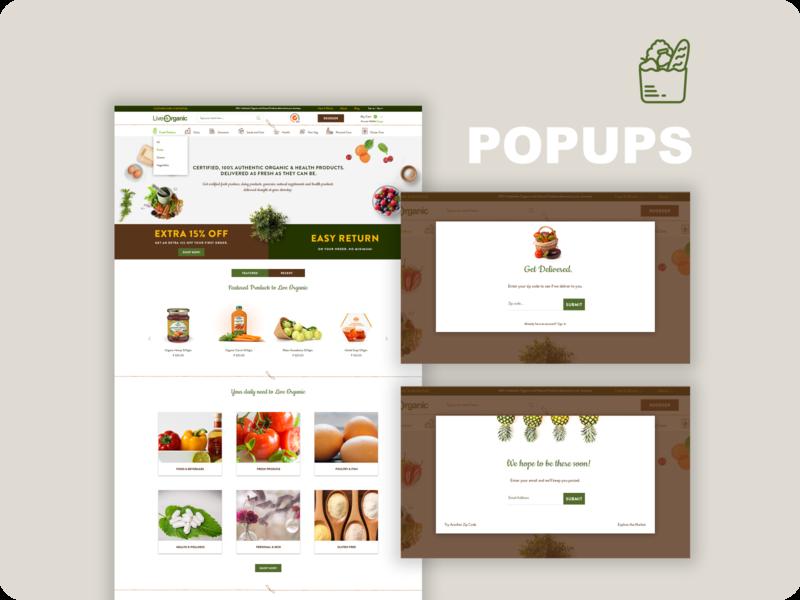 Ecommerce Popup Design groceries uiux website design ecommerce webdesign popup design popup ui branding