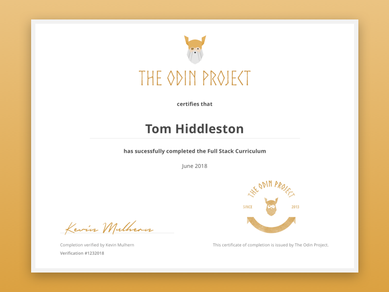 The Odin Project Certificate By Ada Chiu Dribbble