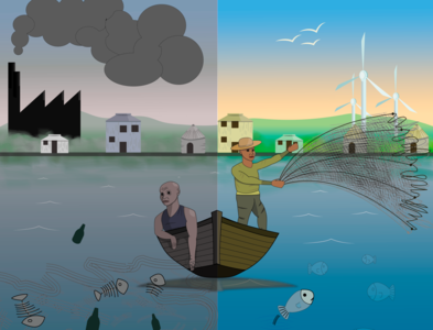 Fishermen from Benin volunteering illustration