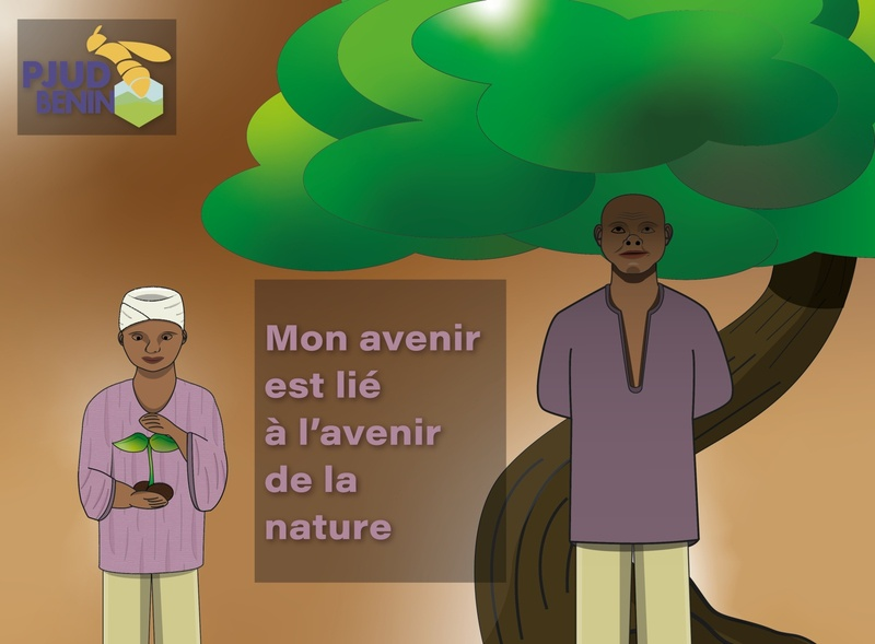 2 je m int resse character benin africa ngo campaign enviroment flat volunteering vector illustration