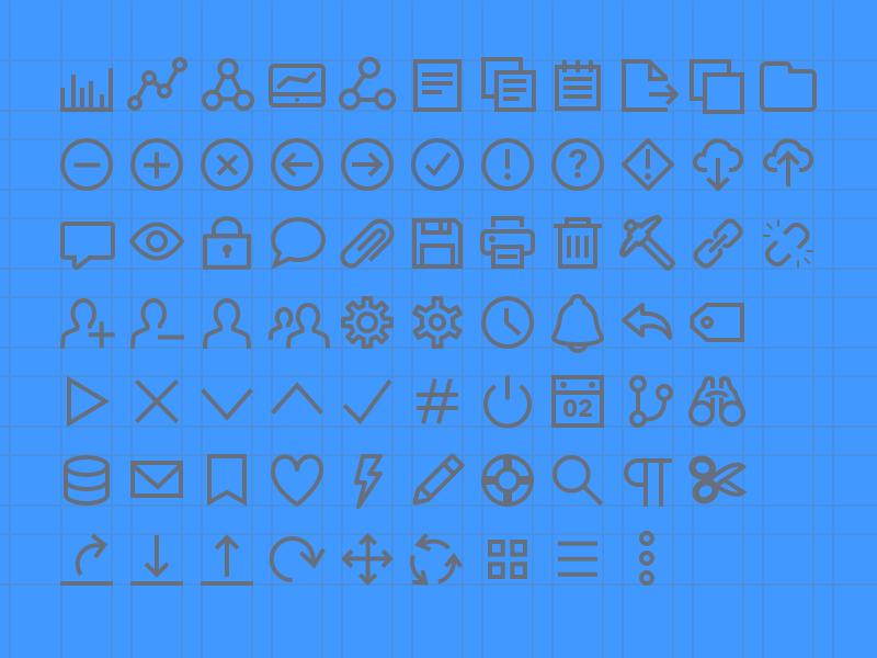 Custom Line Icons alert bookmark lifesaver arrow tag check bar blue icons