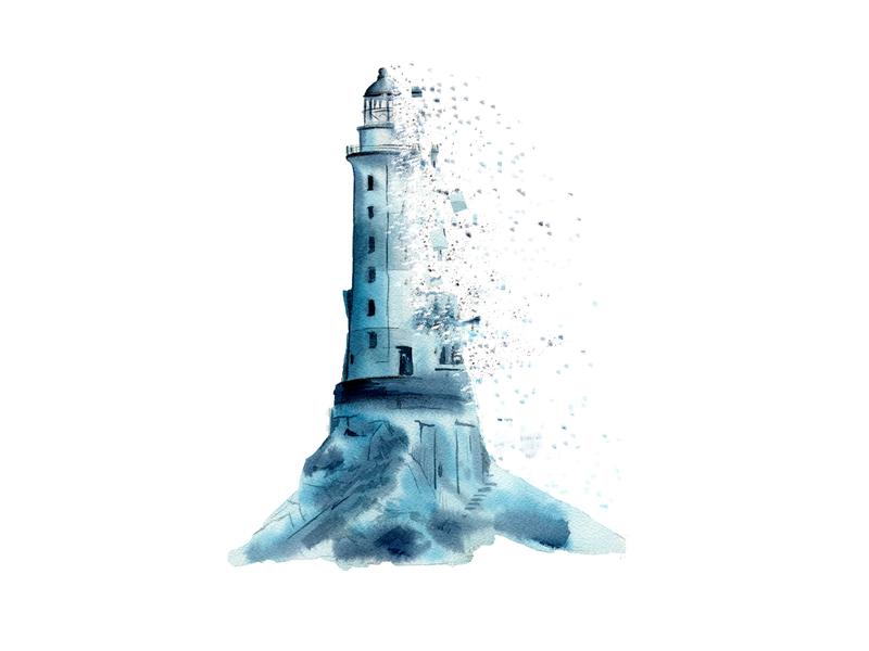 Lighthouse decay lighthouse branding logo design magazine illustration book illustration watercolour watercolor painting illustration