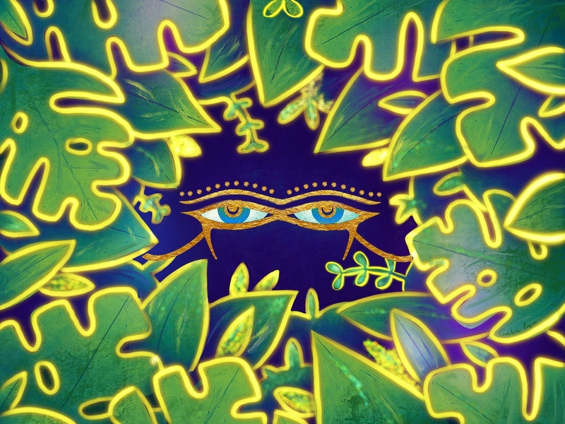 Egyptian glow gold glow green forest procreate animation christinepryordesigns art