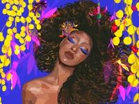 Flower girl lips purple brown woman human girl fashion fashion illustration fashion design branding flat  design vector yellow color design illustration flower