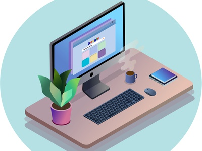 Work Table isometric illustration isometry flower computer table vector illustration vector art illustration digital illustration digital art art