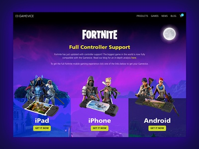 Gamevice - Fortnite Landing Page