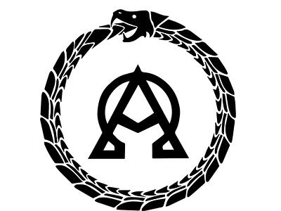 Alpha Omega Ouroboros design illustration