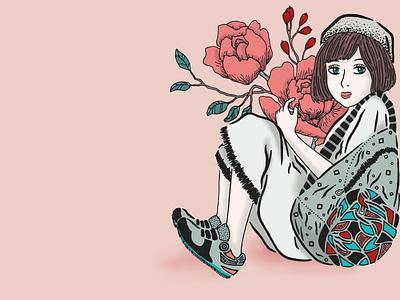 Aesthetic Girl flower art digital artwork digital art digital painting artwork digital illustration