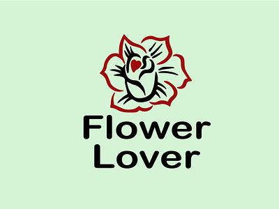 Flower Lover digital minimal vector logo