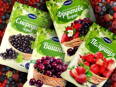 Packagin desing frozen fruits / Premia Fozzy Group frozen food packaging design package design packaging brand design