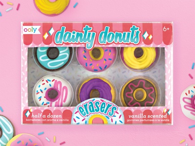 Dainty Donuts Erasers Packaging stationery kids art graphic design donuts novelty packaging design packaging