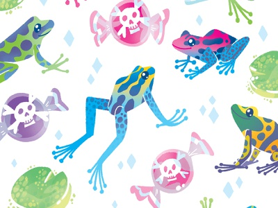 Poison Dart Frogs vibrant bright kids illustration pattern candy frogs illustration