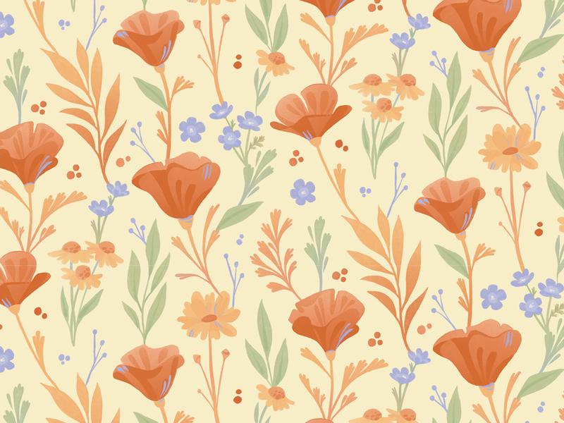 California Poppies Pattern illustration flowers nature pattern surface pattern surface design floral pattern floral